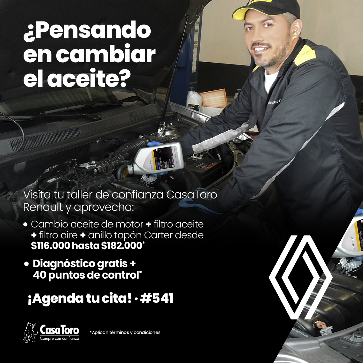Cambio de aceite en CasaToro Renault